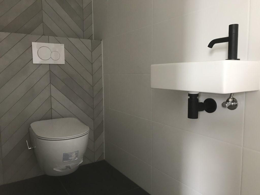 Hangtoilet sanitair tegelwerk Hongaarse punt - Home Repair - Timmerwerk en onderhoud 01